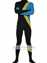 Black Yellow Blue Lycra Spandex Zentai Suit