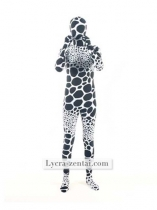 White and Black Dot Lycra Spandex Zentai Suit