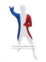 French Flag Pattern Spandex Zentai Suit