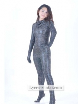 Sexy Black and Silver Fullbody Shiny Metallic Zentai Suit
