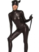 Black Catwoman shiny Metallic Zentai Costume