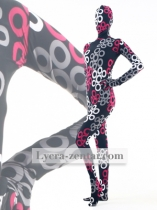 Circles Print Black Fullbody Zentai Suit