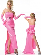Long Pink Zentai Dress Shiny Zentai Dress