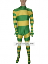 Yellow & Green Stripes Spandex Zentai Suit