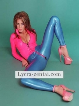 Pink and Blue Shiny Metallic Zentai Suit