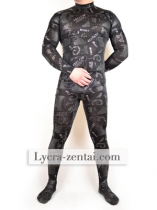 Black oil painting Lycra Zentai Suit