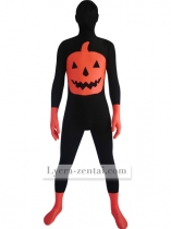 Black and Orange Pumpkin Lycra Hallween Zentai Suit