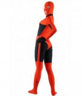 Red with Black Lycra Spandex Unisex Zentai Suit