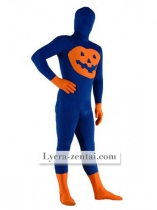 Blue and Orange Pumpkin Lycra Zentai Suit