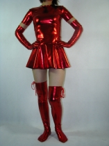 Sexy Pleated Halter Red Shiny Metallic zentai suit