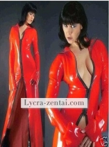 Sexy Red Front Open Shiny Metallic Zentai Suit