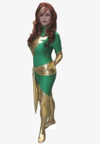 Jean Grey Phoenix Superhero Costume In Green