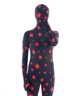 Red Stars Black Fullbody Zentai Suit