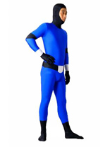 Blue with Black Lycra Spandex Unisex Zentai Suit