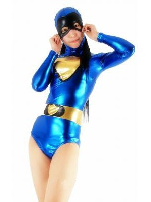 Blue Shiny Metallic Zentai Catsuit