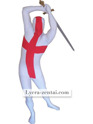 England Flag White Red Spandex Lycra zentai suit