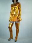 Sexy Gloden Pleated Halter Shiny zentai suit