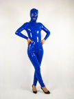 Unisex Blue Shiny PVC Unicolor Zentai Suit