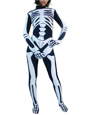 No Head Skeleton Spandex Unisex Zentai Suit