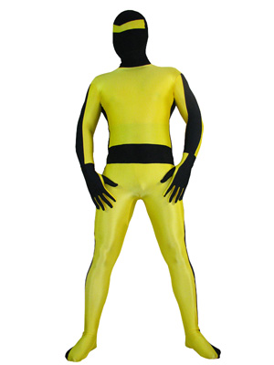 Yellow And Black Shiny Metallic Lycra Superhero Costume