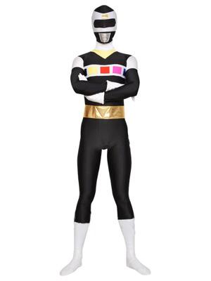 Noir Blanc Lycra Spandex Super Héro